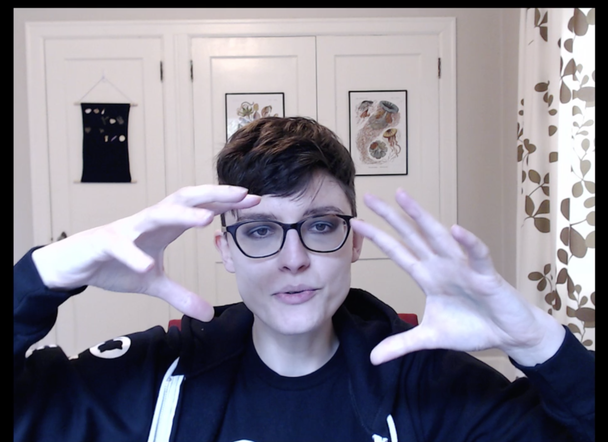 Screenshot from one of my CTF streams on Twitch. I'm dressed in black and explaining something with my hands, which are raised on either side of my face. I'm well-lit, in-focus, and in-frame.